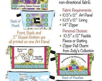 Instructions for Jody's Printed Zippered Pouches