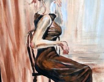 Original Acrylic Brunette Women Brown Dress Painting Blues
