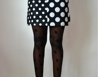 Two Tone Polka Dot Mini Skirt