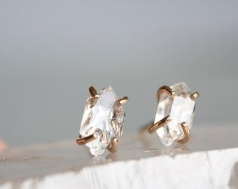 herkimer diamond earrings, raw herkimer post earring, 14k gold crystal stud earring,  Rachel Wilder Handmade Jewelry