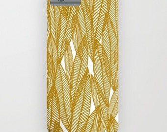 Golden leaves iphone plastic slim case- leaves pattern- gold and white- yellow-modern design- nature- leaves- samsung galaxy phone cover