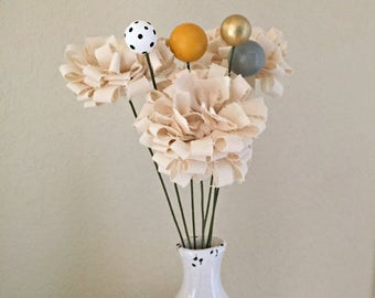 modern looped fluffy fabric flower stem bouquet, wooden bead flowers, fake, faux fabric scrap, whimsical, Spring flowers centerpiece - Set B