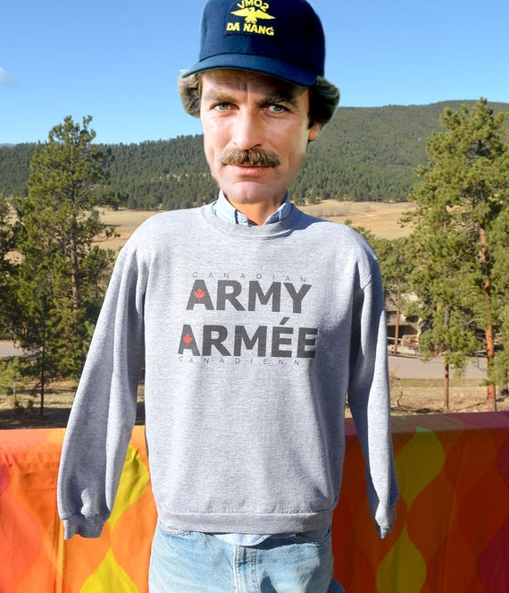 vintage 80s sweatshirt CANADA army armee military heathered gray Medium Small canadian