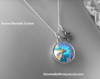 Aurora Borealis Swarovski Crystal with Glow Star Charm Magic Necklace Silver Glowing Celestial Galaxy Handmade Glowies Jewelry