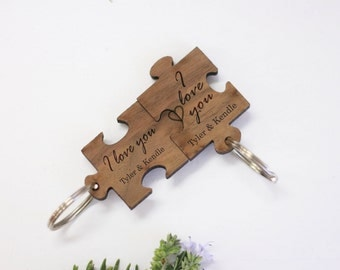 Valentines Gift Puzzle Piece Keychains, Fit Together Puzzle Piece Keychain, Cute Wooden Engraved Keychain, Walnut Wood Keychains