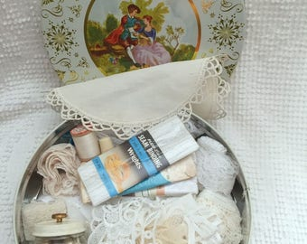 Vintage Ivory and Gold Treasure Tin filled with an amazing assortment of ALL VINTAGE White and Ivory trims, lace, and buttons - Gorgeous