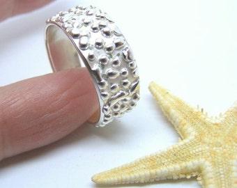 Handmade Silver Ring, Bobble Band Ring, Size 8 7/8 uk R 1/2, handmade silver textured ring