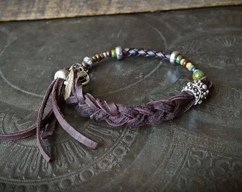 Memory Wire Bracelet, Glass, Silver, Leather, Bangle, Braided Leather  Organic, Rustic, Artisan Made, Beaded Bracelet