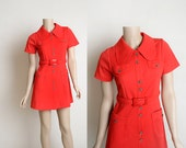 Vintage 1970s Mini Dress - Bright Cherry Red Sporty Large Peter Pan Collar and Pockets Casual Dress - Button Up - Small