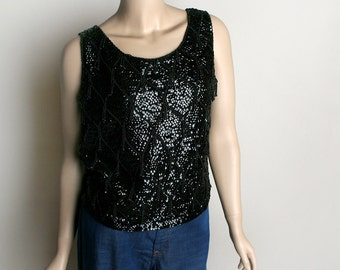 Vintage Beaded & Sequin Blouse Top - Black Date Night Formal 1960s Style Wool Fancy Cocktail Party Blouse - Medium Large
