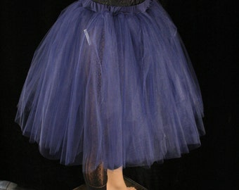 Ready to ship - Tutu Tulle skirt Adult Navy - sz Small - Romance poofy knee length dance bridal petticoat wedding bridesmaid -SOTMD