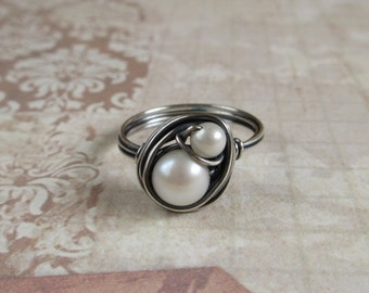 Bird Nest Ring, Mom And Baby, White Freshwater Pearl, Sterling Silver Wire Wrap Jewerly, Gift For Mother