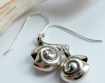 Handcrafted Artisan Fine Silver Spiral Seashell Sterling Silver Boho Hippie Beach Summer Minimalist Dainty OOAK Earrings