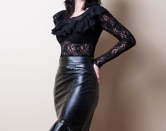 hobble skirt in faux leather or pvc made to by decadentdesignz