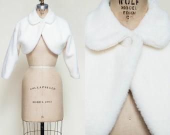 1960s Cropped Bolero --- Vintage Winter White Jacket