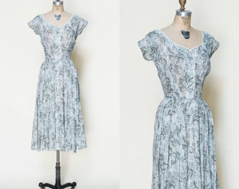 1950s Floral Dress --- Vintage Semi Sheer Garden Dres