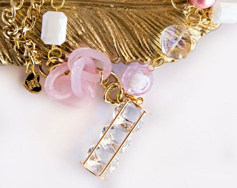 BEVERLY HILLS BABE - Pink Couture Beaded Crystal and Lucite Diamond Charm Necklace