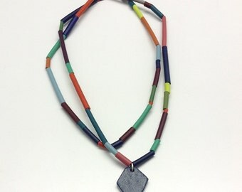 Geometric jewelry, facets, bright necklace, contemporary jewelry
