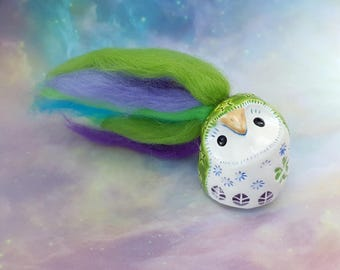 Green Ceramic Owl with Colorful Hair