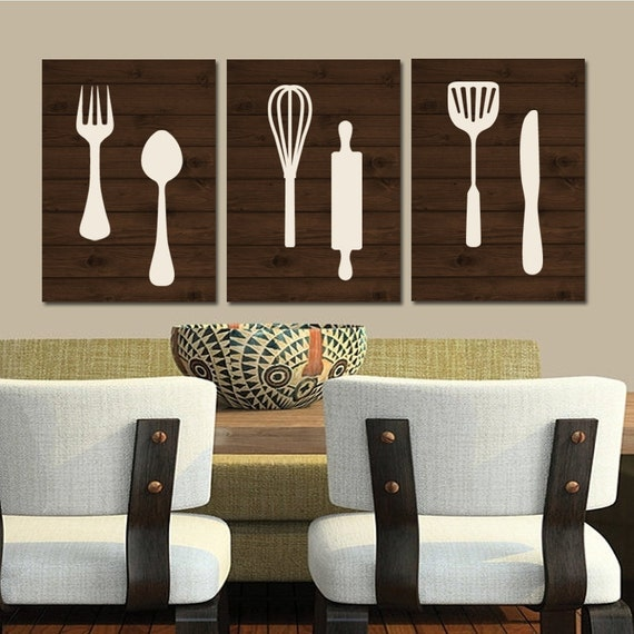 Wooden Utensil Wall Decor : Kitchen wall art canvas or print wood utensils by trmdesign
