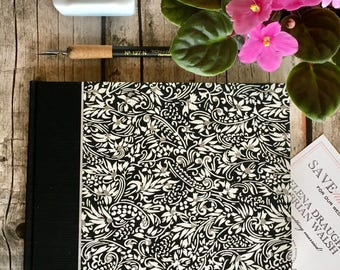 Unique Guest Book  - Perfect for Wedding Guest Book, Funeral Guest Book, B and B Guest Book, Creative Guest Book in Black and White Flowers