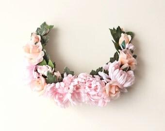 Pink flower headpiece, Bridal hair accessory, Pink floral wreath, Large rose floral headpiece, Bridal hair comb, hair comb headpiece