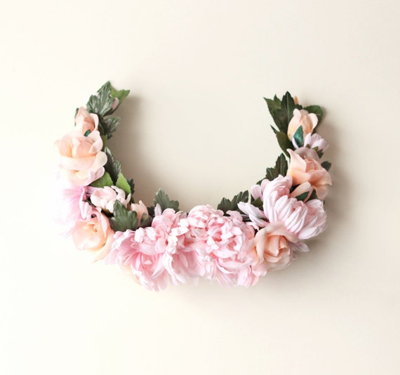 Pink flower headpiece, Bridal hair accessory, Pink floral wreath, Large rose floral headpiece, Bridal hair comb, hair comb headpiece