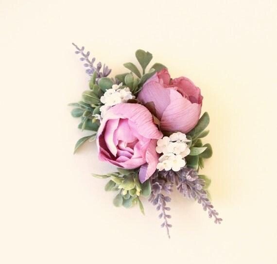 Purple flower clip, Lavender and rose bridal clip, Unique floral wedding hair accessory, Updo side bun back clip, Plum bridal clip
