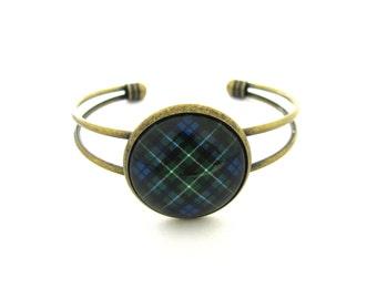Scottish Tartan Jewelry - Ancient Romance Series - Graham Clan Tartan 25mm Split Cuff Bracelet