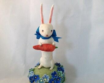 Spun cotton white rabbit among forget me nots figure by Maria Paula