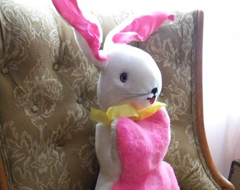 Giant, 2 Foot Tall Stuffed Easter Bunny Rabbit Made by Dollcraft Pink and White Plush