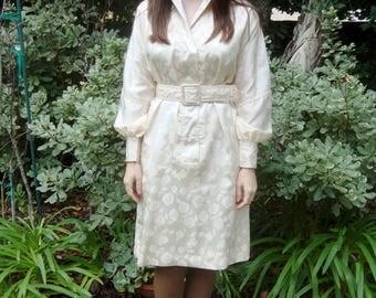 Vintage 70s Floral Belted Silk Dress M