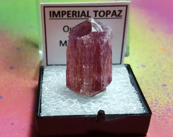 Rare PINK-Purple IMPERIAL TOPAZ Natural Top Quality Terminated Pink-Purple Gemstone Collector Crystal In Perky Specimen Box From Brazil