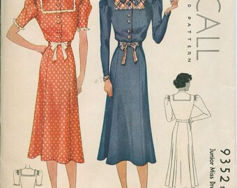 1937 McCall 9352 Elegant Dress  Sewing Pattern Vintage Size 16 Adorable Gown Great neckline & bodice