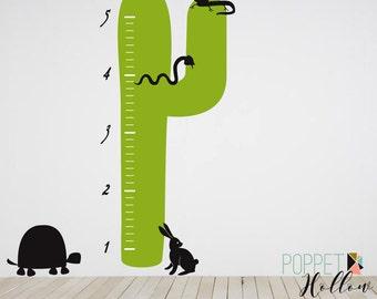 Cactus Vinyl Wall Decal Growth Chart - Rabbit, Turtle, Snake, Desert Vinyl Sticker - Cactus Bedroom Nursery - LL109