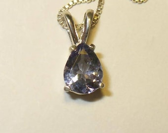 Tanzanite Pendant Necklace in Sterling Silver - Pear-Cut Genuine Natural Gemstone