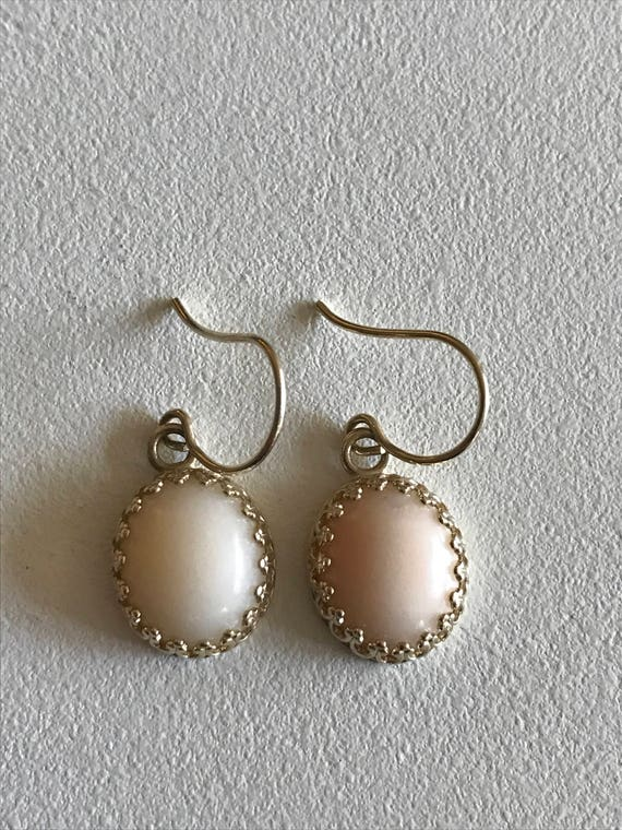 14 KT Gold and Angel Skin Coral Cabochon French Wire Earrings - Wife Gift