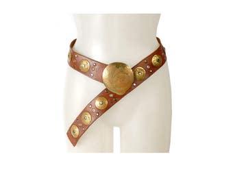 Vintage 80s Belt - 80s Leather Belt - Boho Leather Belt - Low Slung Belt - Leather Brass Belt - Low Slung Leather Belt - Brown Leather Belt