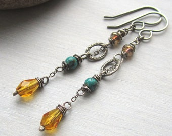 Colorful Silver Earrings, Yellow Red Turquoise Dangle Earrings, Elegant Boho Jewelry