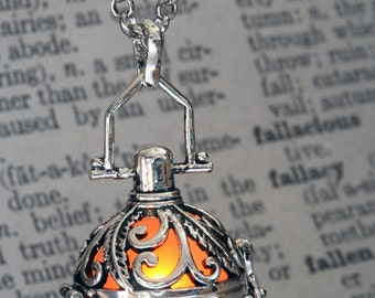Glowing Pendant Glowing Necklace - Ornate Fairy Locket with Orange glowing Orb - Beautiful Valentine Gift for her - LED Jewelry