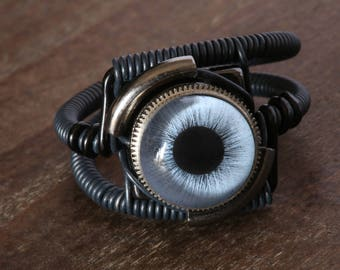 Steampunk Ring, blue Eye, Black