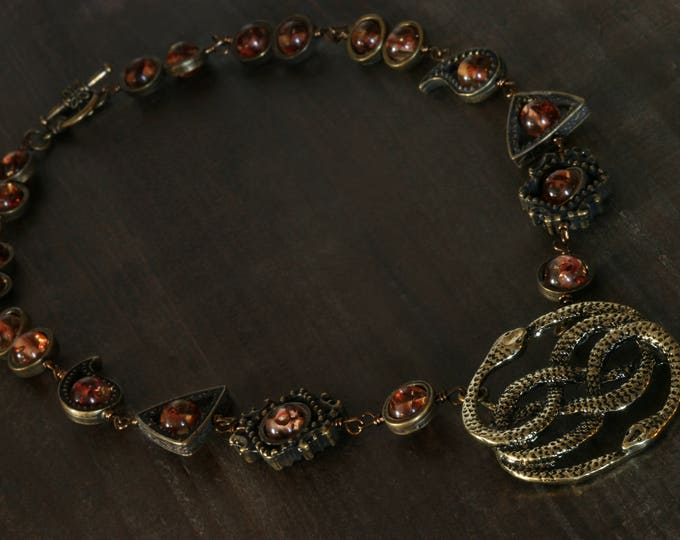 Fantasy Victorian Style Jewellery - Necklace - The neverending story - Two snakes