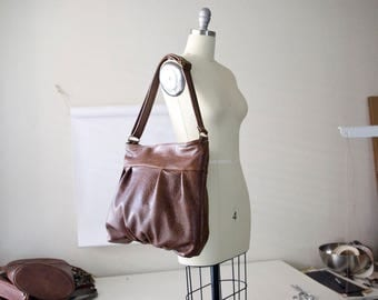 Ruche Hobo in Genuine Cowskin Leather, Market Bag, Zipper Top Hobo, Made to Order, Chestnut Brown, Onyx Black, Jenny N. Design, Made in USA