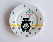 Illustrated small vintage cake plate Circus bear on a bike