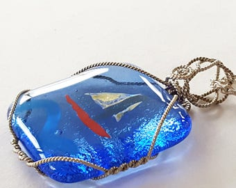 Sailboat Pendant, Wire Wrapped Pendant, Fused Glass Jewelry, Sailboat Necklace, Nautical Jewelry, One of a Kind, Blue Pendant
