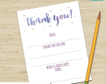 Kids Stationery, Art Party, Fill In the Blank Cards, Girls Birthday Card, Kids Thank You Cards, DIY PRINTABLE, Children's Thank You Cards