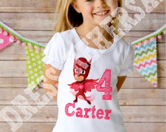 PJ Masks birthday girl shirt with name ruffle or plain long or short sleeve