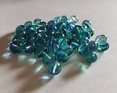 8mm Blue Green Baroque Shape Glass Beads - 48 pcs - Two Tone Bead Supply - Bella Mia Beads