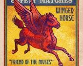 "Pegasus Matchbox Art- 5"" x 7"" matted signed print"