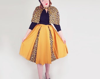 50s Leopard and Gold Cotton Sateen Cape and Skirt Suit M